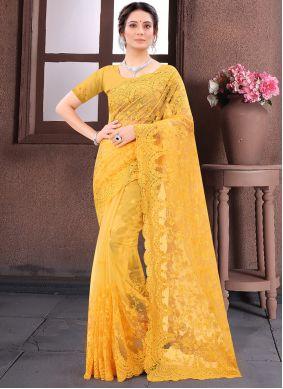 Mustard Net Wedding Contemporary Saree