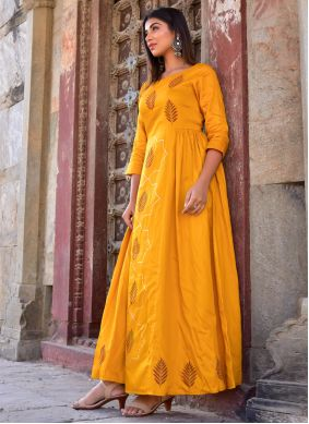 Mustard Party Jamawar Silk Designer Gown