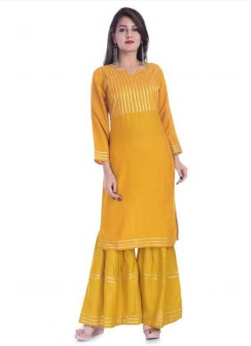 Mustard Print Party Wear Kurti