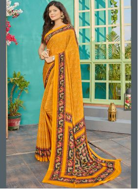 Mustard Printed Contemporary Saree
