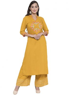 Mustard Printed Sangeet Party Wear Kurti