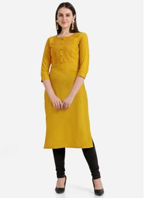 Mustard Rayon Party Casual Kurti