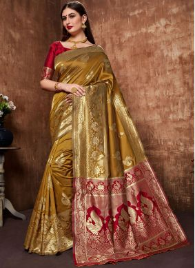 Mustard Weaving Art Silk Cotton Designer Traditional Saree