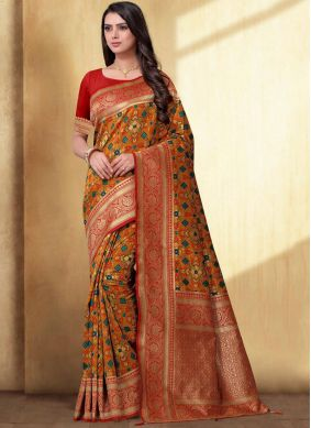 Mustard Weaving Silk Saree