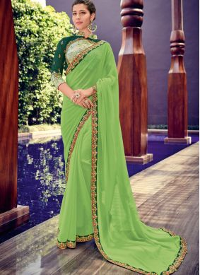 Mystic Faux Chiffon Green Trendy Saree