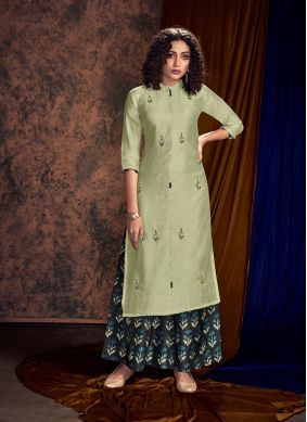 Mystical Embroidered Green Readymade Salwar Kameez