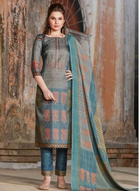 Mystical Grey and Teal Tussar Silk Pant Style Suit