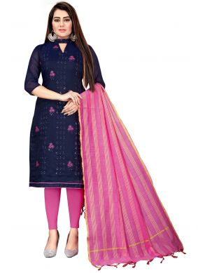 Navy Blue and Pink Chanderi Cotton Churidar Suit