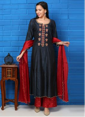 Navy Blue and Red Ceremonial Silk Readymade Suit