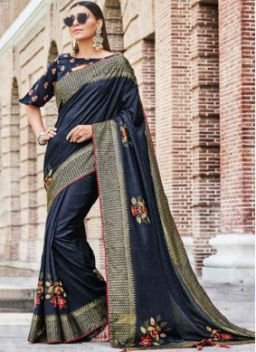 Navy Blue Art Silk Embroidered Traditional Saree