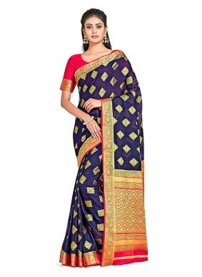 Navy Blue Art Silk Party Designer Traditional Saree