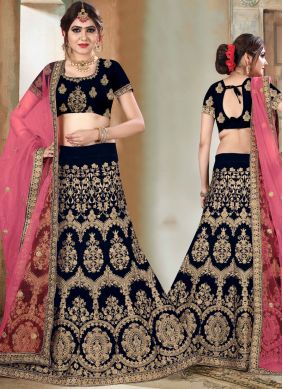 Navy Blue Bridal Velvet Lehenga Choli