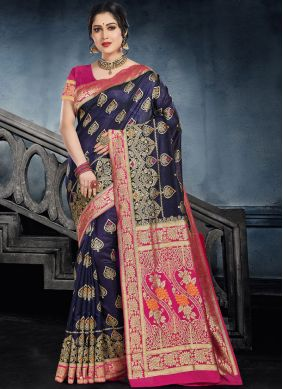 Navy Blue Ceremonial Designer Saree