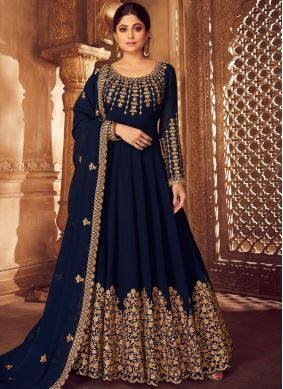 Navy Blue Color Anarkali Salwar Kameez
