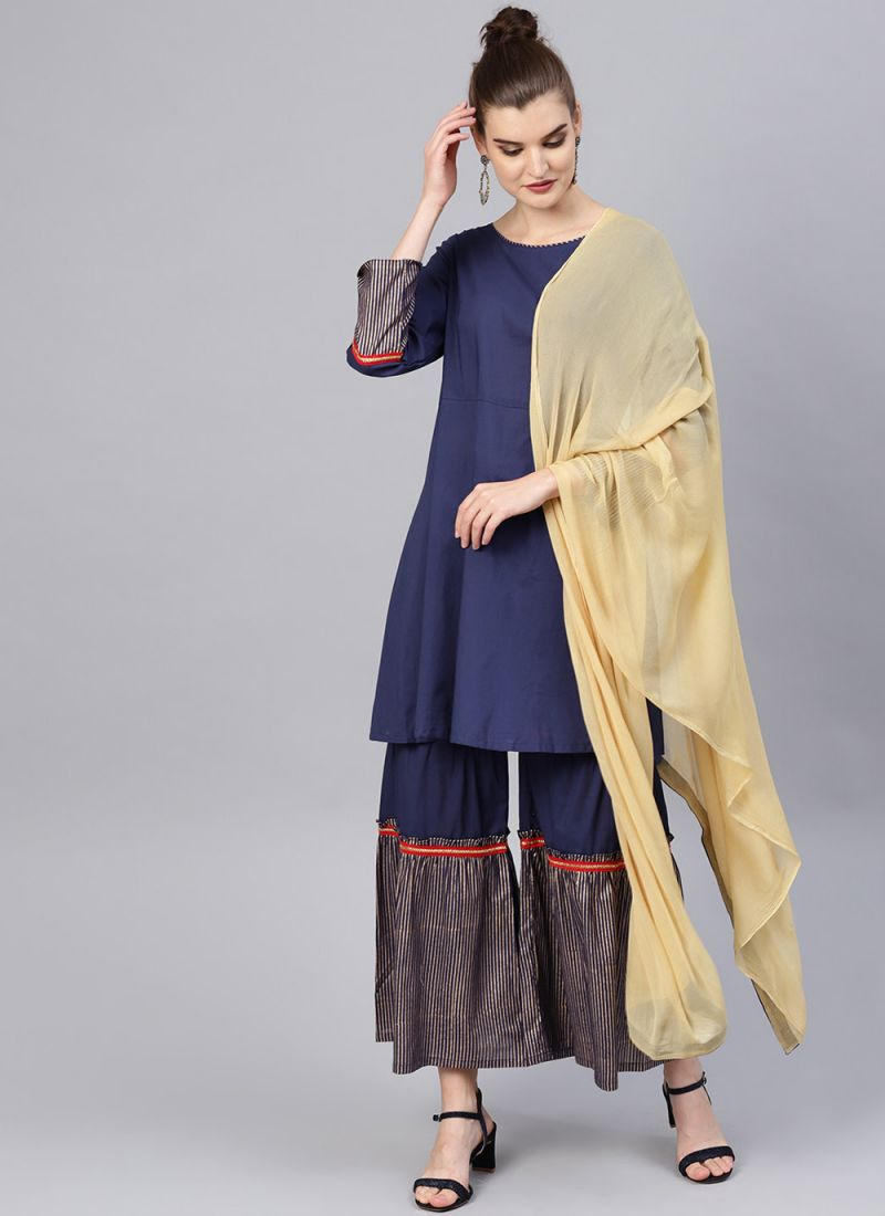 Navy Blue Color Bollywood Designer Kurtis.