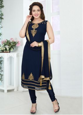 Navy Blue Color Churidar Suit
