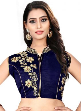 Navy Blue Embroidered Art Silk Designer Blouse