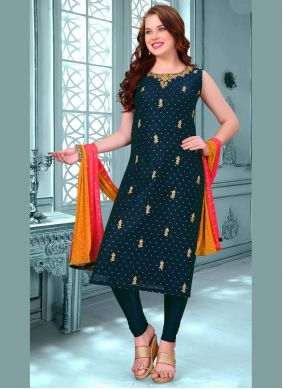 Navy Blue Embroidered Art Silk Trendy Churidar Salwar Suit