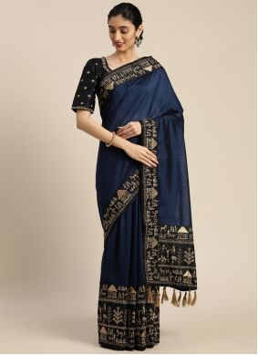 Navy Blue Embroidered Faux Crepe Classic Designer Saree