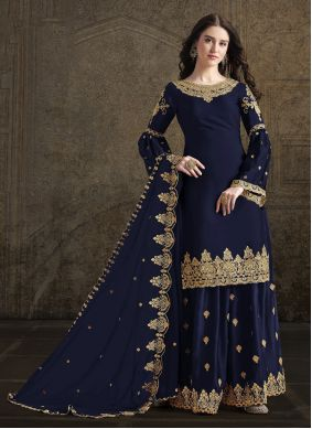 Navy Blue Embroidered Georgette Trendy Palazzo Suit