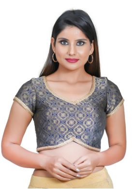 Navy Blue Embroidered Jacquard Blouse