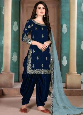Navy Blue Embroidered Party Designer Salwar Kameez