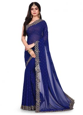 Navy Blue Embroidered Party Designer Traditional Saree