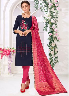 Navy Blue Embroidered Party Salwar Suit