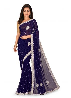 Navy Blue Embroidered Party Saree