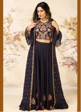 Navy Blue Embroidered Readymade Suit