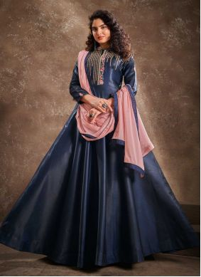 Navy Blue Embroidered Silk Readymade Anarkali Suit