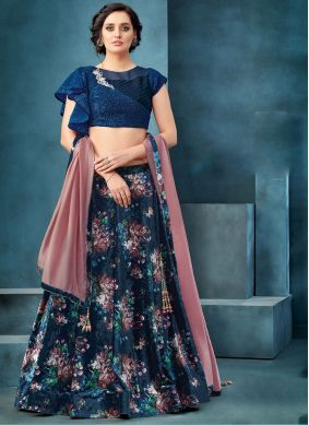 Navy Blue Embroidered Trendy A Line Lehenga Choli