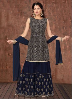 Navy Blue Engagement Designer Palazzo Suit
