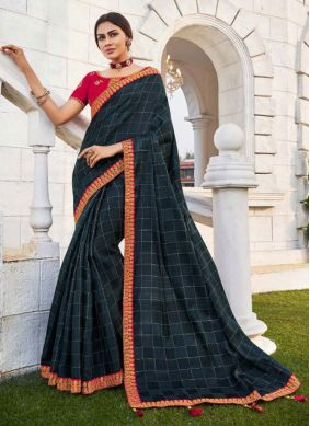 Navy Blue Fancy Fabric Embroidered Traditional Saree