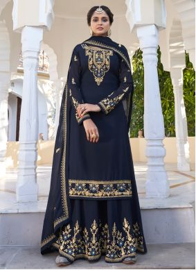 Navy Blue Faux Georgette Readymade Suit