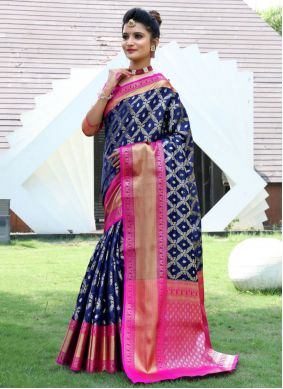 Navy Blue Festival Traditional Designer Saree