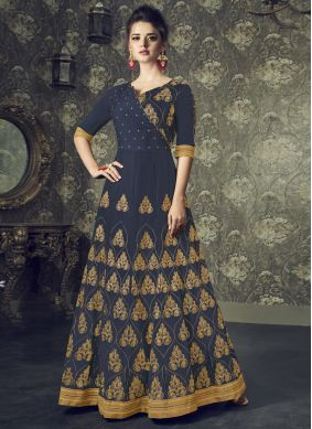 Navy Blue Floor Length Anarkali Suit