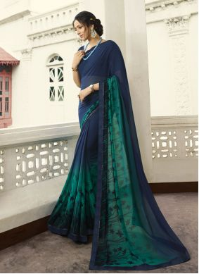 Navy Blue Georgette Bollywood Saree
