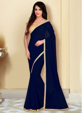 Navy Blue Lace Georgette Casual Saree
