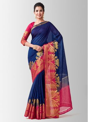 Navy Blue Linen Designer Traditional Saree