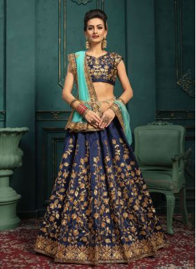 Navy Blue Malbari Silk  Wedding Designer Lehenga Choli