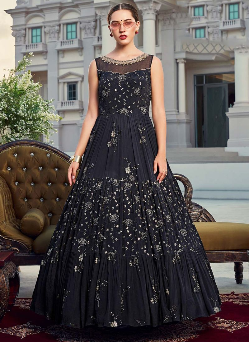 Navy Blue Party Chinon Floor Length Gown
