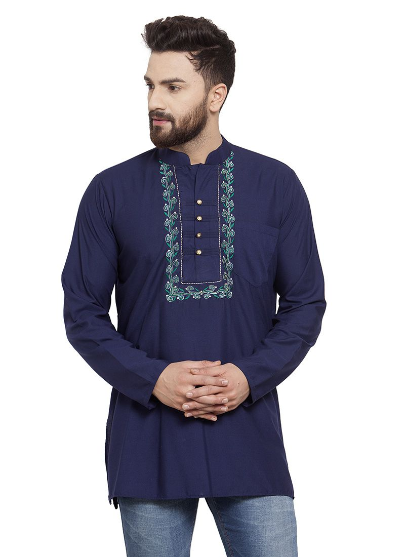 Navy Blue Party Cotton Kurta