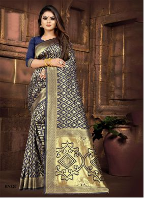 Navy Blue Party Silk Traditional Saree