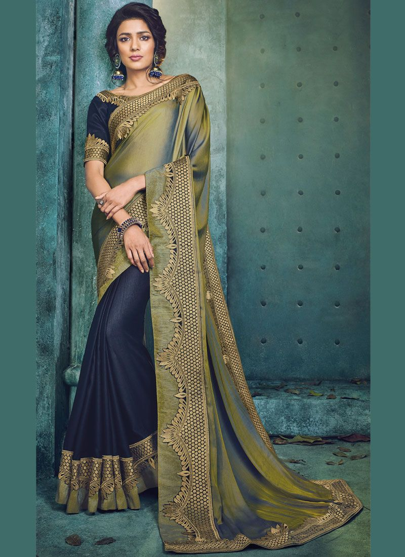 cded6fc7c0 Navy Blue Patch Border Designer Half N Half Saree