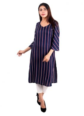 Navy Blue Plain Rayon Casual Kurti