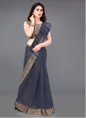 Navy Blue Printed Cotton Casual Saree