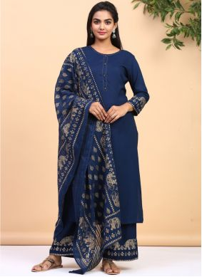 Navy Blue Printed Cotton Palazzo Suit