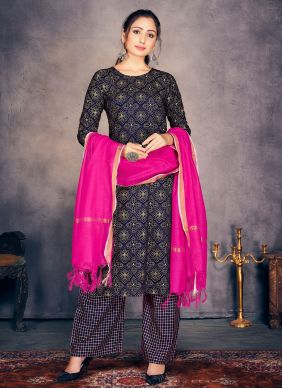 Navy Blue Rayon Print Readymade Suit