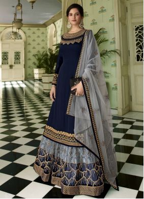Navy Blue Resham Faux Georgette Designer Long Lehenga Choli